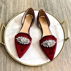 Jewel Badgley Mischka Red Velvet Flats